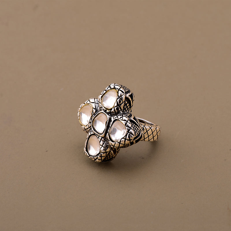 OXIDIZED POLKI FLOWER RING