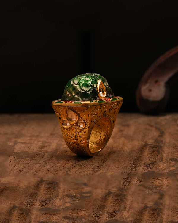 CARVED EMERALD PARTAASH RING