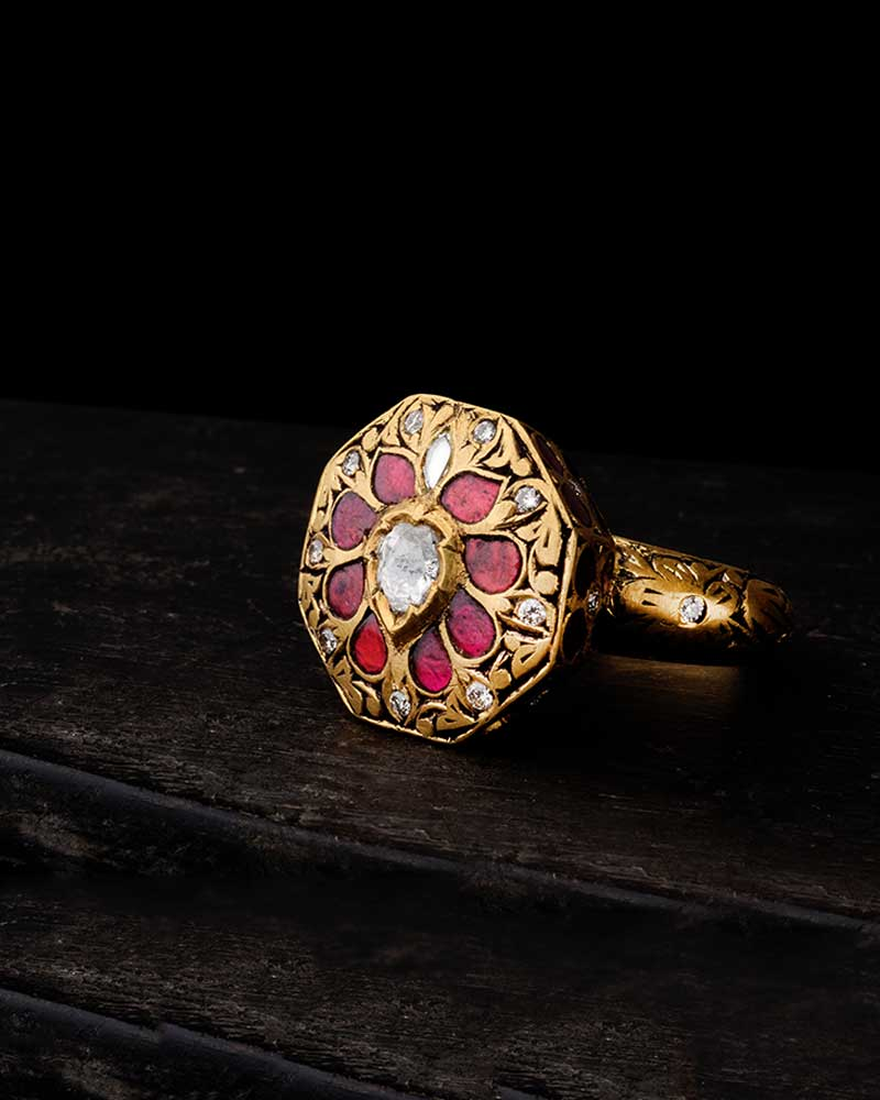 PARTAASH HEXA RING IN 22KT GOLD