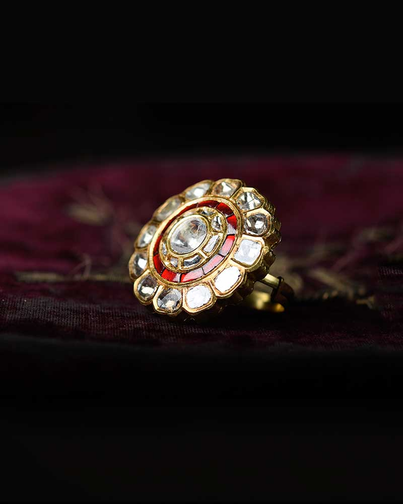 18/24KT GOLD POLKI DIAMOND FLOWER RING
