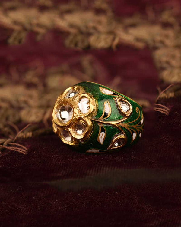 EMERALD GREEN ENAMEL RING