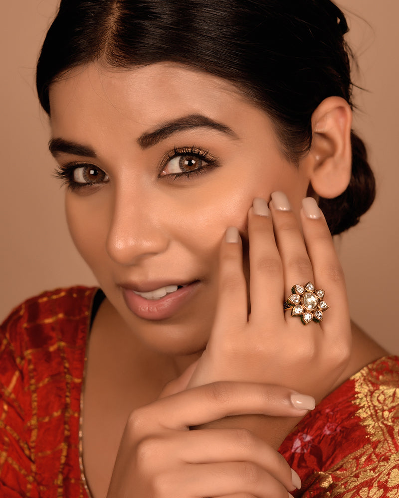 MUGHAL ERA INSPIRED CLASSIC ROSECUT DIAMON RING IN 22KT GOLD
