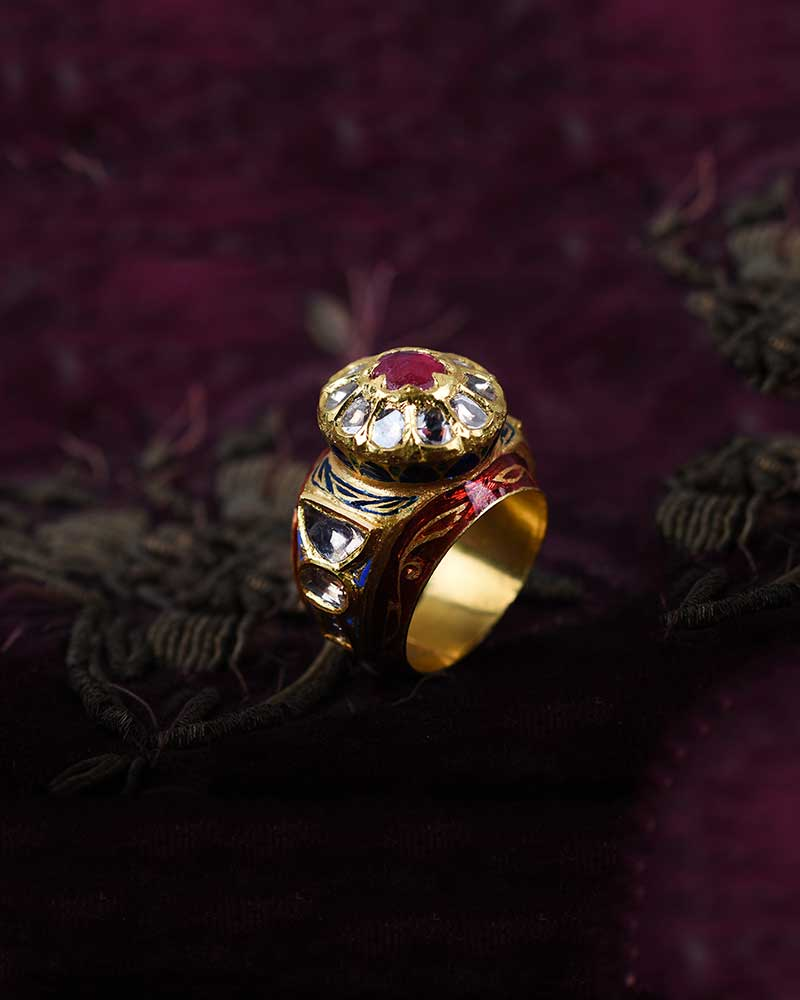 22KT GOLD ENAMEL POLKI DOME RING
