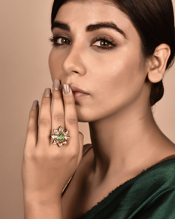 REGAL LOTUS EMERALD AND POLKI RING IN 22KT GOLD