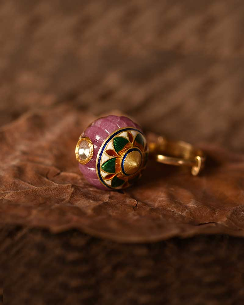 CARVED RUBY MELON RING