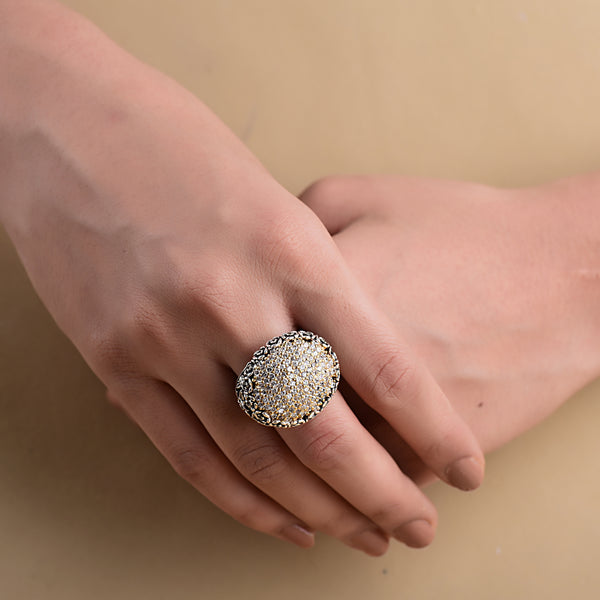 CUBIC ZIRCONIA TWO-TONED FLOWER RING