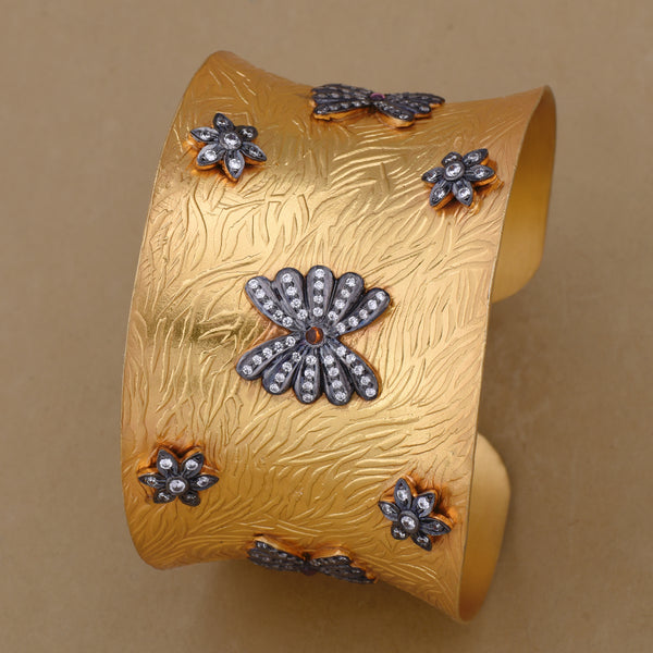 MUTED GOLD CUFF WITH CZ MOTIFS