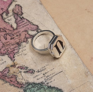 SILVER PLATED INITIAL RING