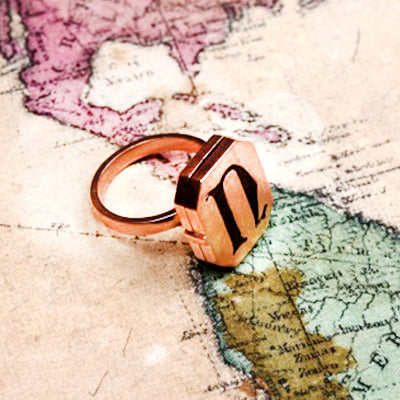 ROSE GOLD PLATED INITIAL RING