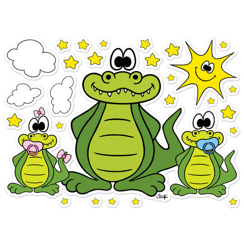 ALLIGATOR WITH BABIES, SUN, CLOUDS AND STARS Wall Stickers