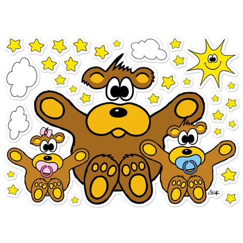 BEAR WITH BABIES, SUN, CLOUDS AND STARS Wall Stickers