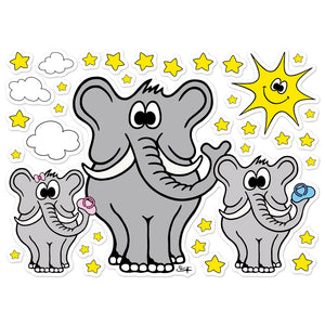 ELEPHANT WITH BABIES, SUN, CLOUDS AND STARS Wall Stickers