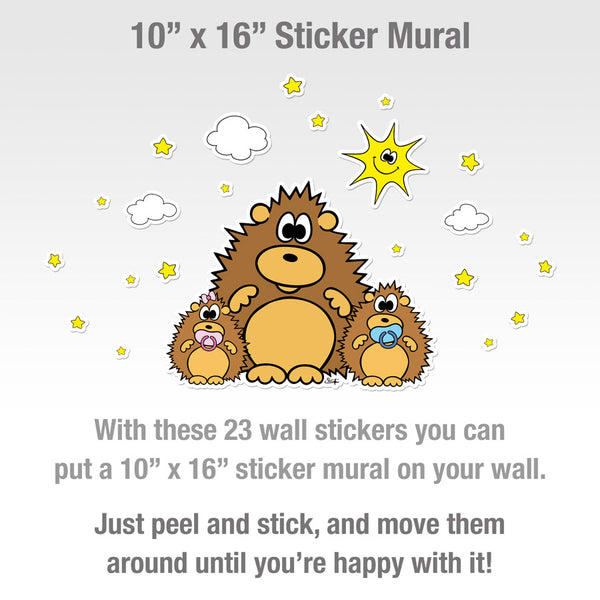 HEDGEHOG WITH BABIES, SUN, CLOUDS AND STARS Wall Stickers
