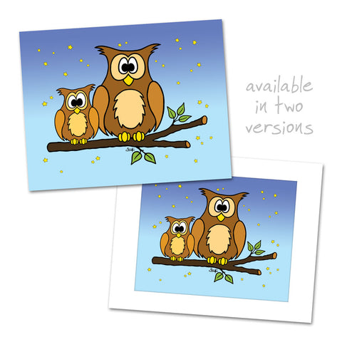 OWLS ON BRANCH Art Print