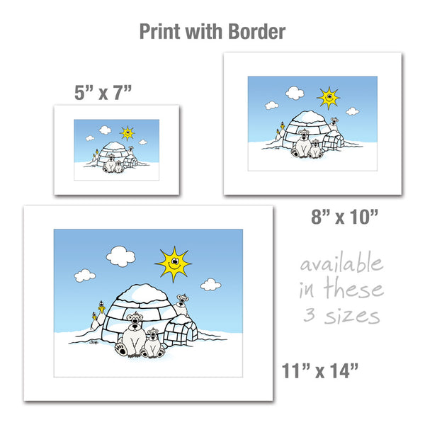 POLAR BEARS AND PENGUINS WITH IGLOO Art Print
