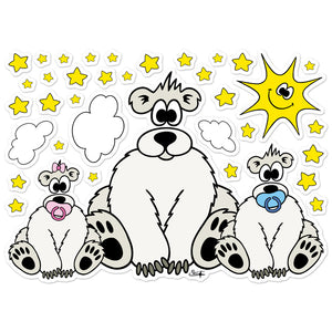 POLAR BEAR WITH BABIES, SUN, CLOUDS AND STARS Wall Stickers