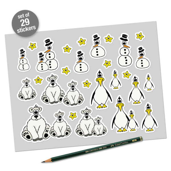 POLAR BEARS, PENGUINS & SNOWMEN Sticker Set