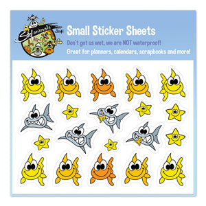 FISH, SHARKS & STARS Small Sticker Sheet