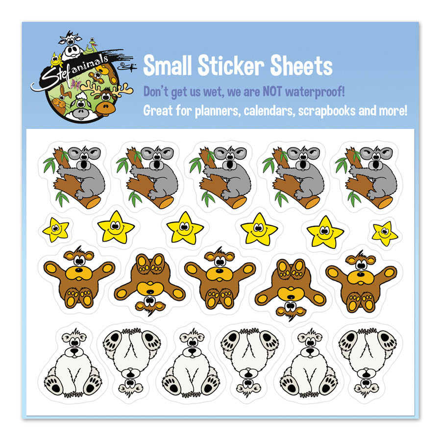 BEARS & STARS Small Sticker Sheet