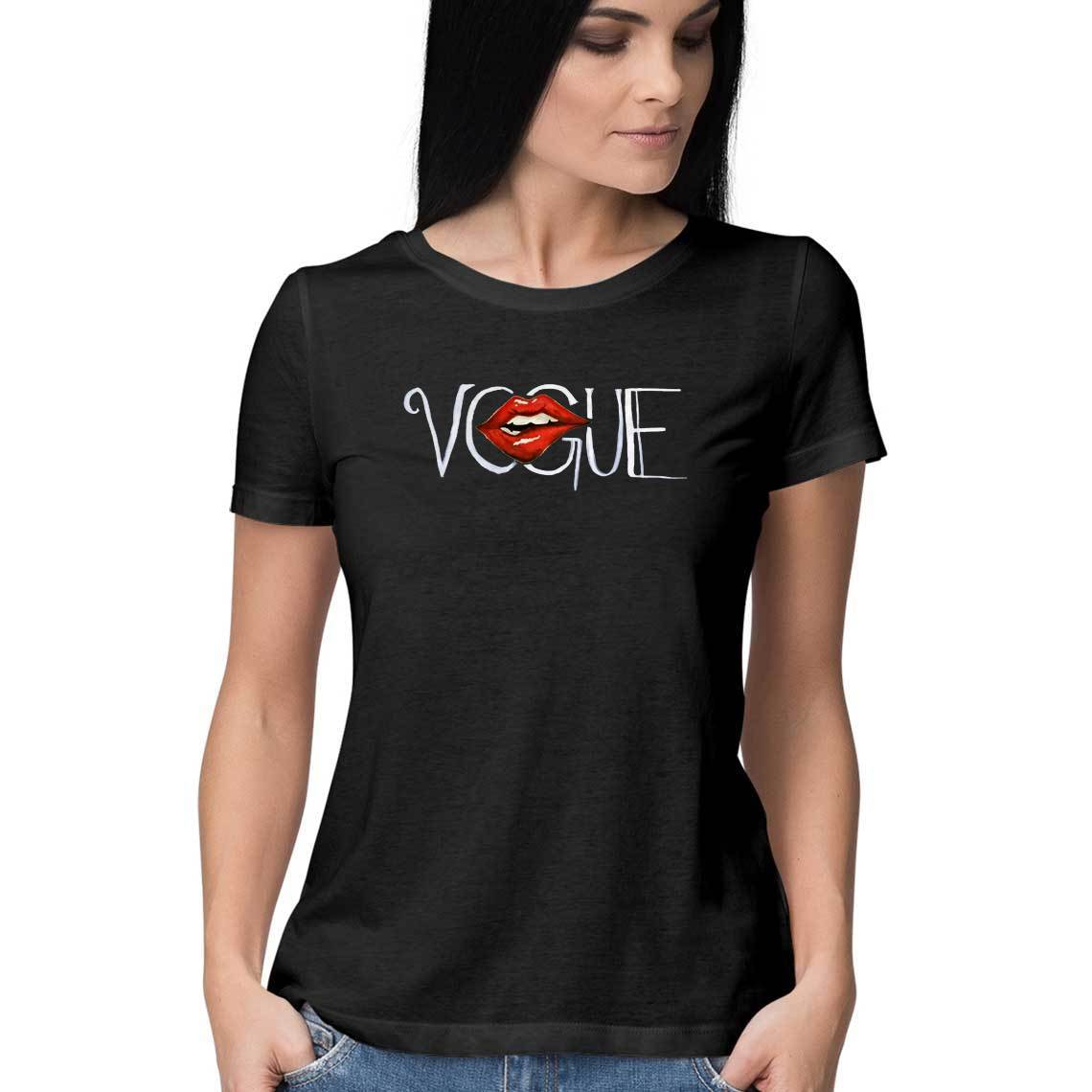 Vogue Women's Black T Shirt-Nikhita Nair - 21 AD