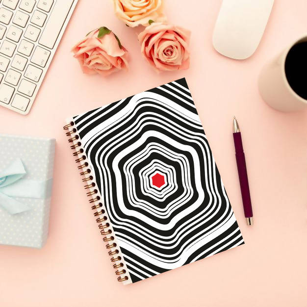 Red Dot Abstract design Notebook_theinfiart