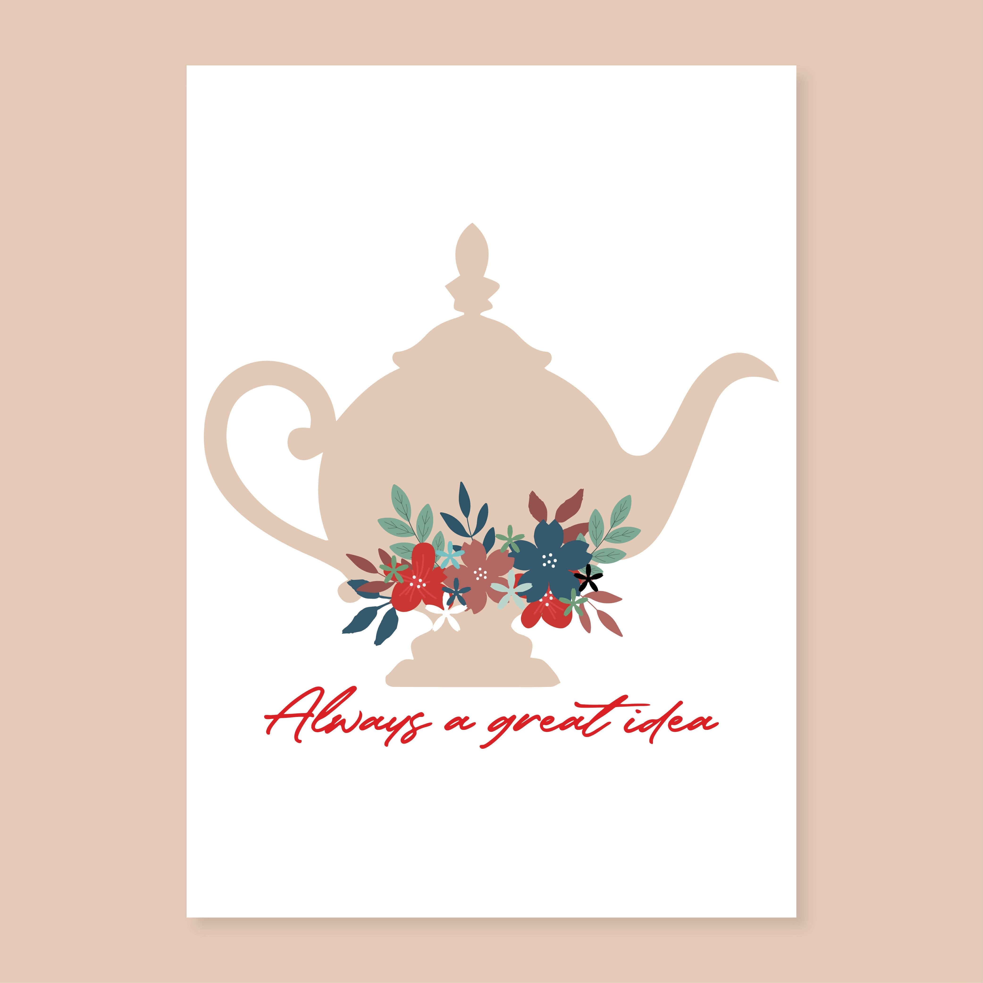 Teapot Kitchen A4 Poster - The Print Route