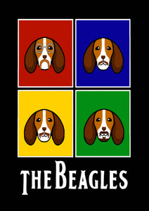 The Beagles Black Poster - A3