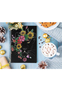 Floral panther(black) notebook