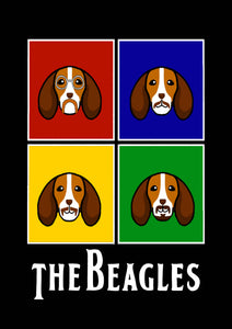 The Beagles Black Poster - A4