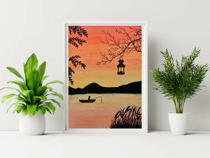 Sunset sky painting A4 poster framed
