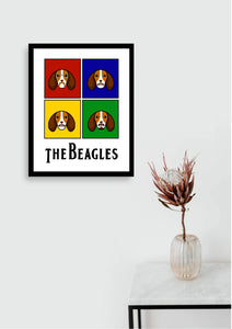 The Beagles White Poster - A3 Framed