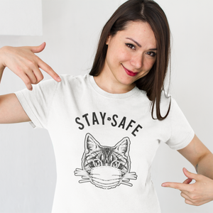 Stay Safe | Cat Covid-19 Mask Tee | Womens