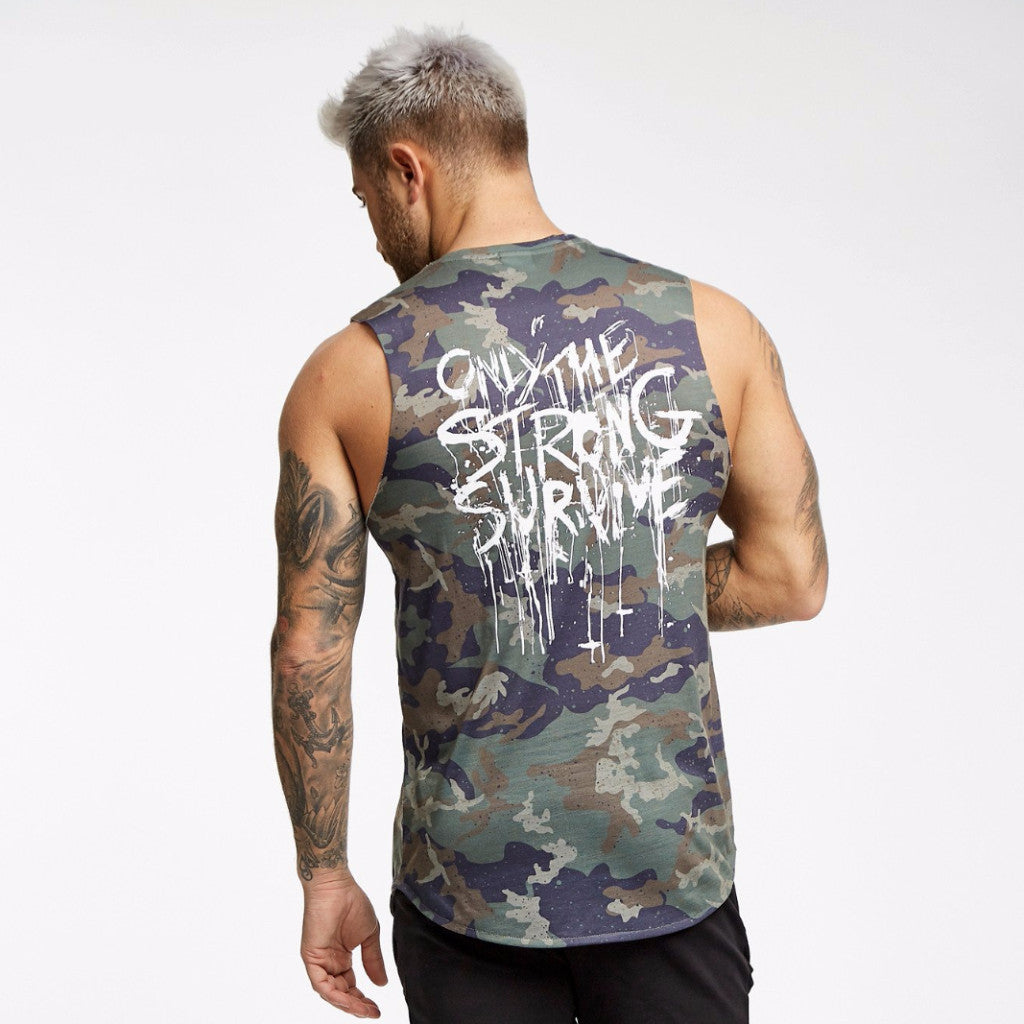 Only The Strong Survive Cut Off Tee - Camo