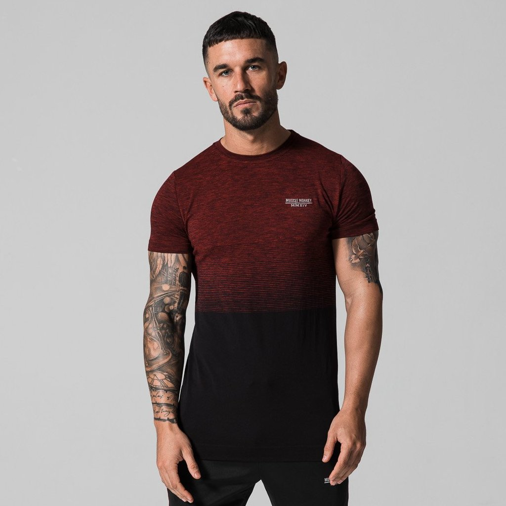 Burgundy/Black Seamless Tee