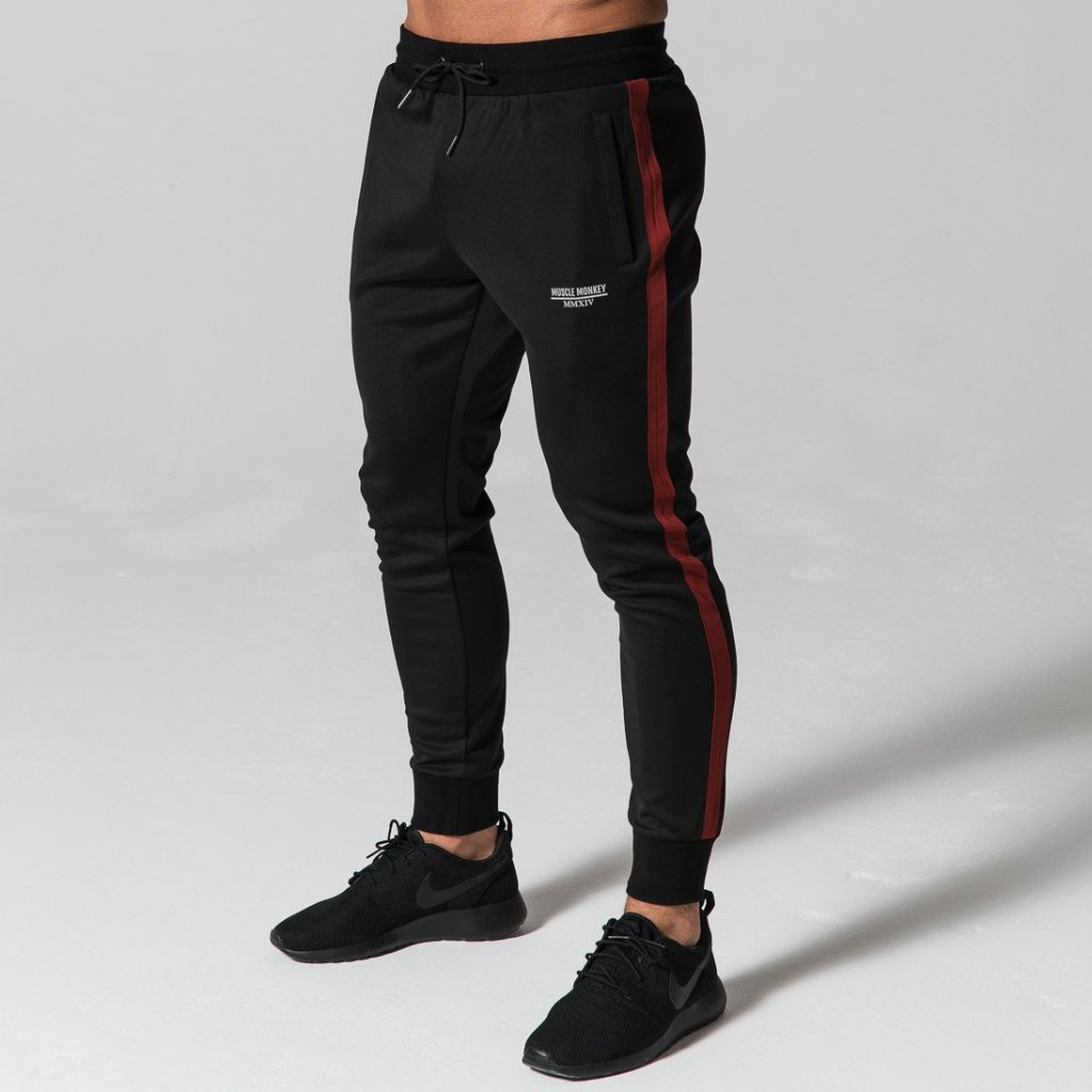Black/Red Poly Joggers