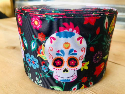 "3"" Sugar Skull Ribbon"