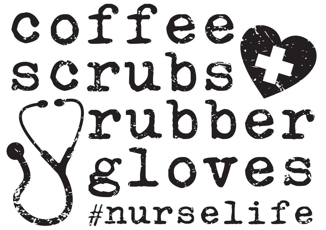 coffee, scrubs + rubber gloves