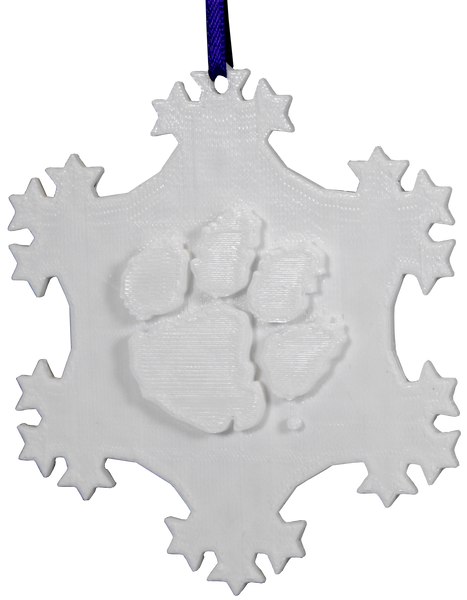 Clemson White Snowflake Ornament