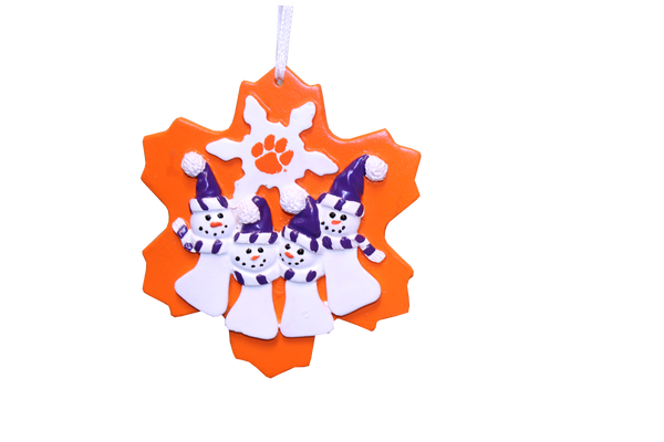 Clemson Snowman Family Ornaments