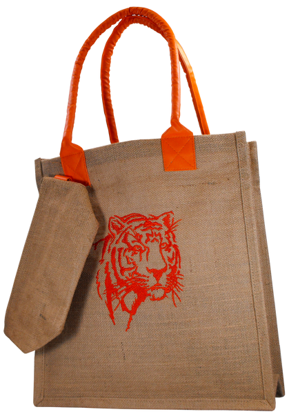 Clemson Jute Tiger Face Tote Set