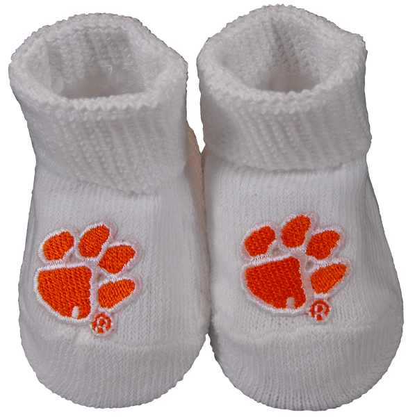 Clemson Baby Booties - Argyle, Orange, or White