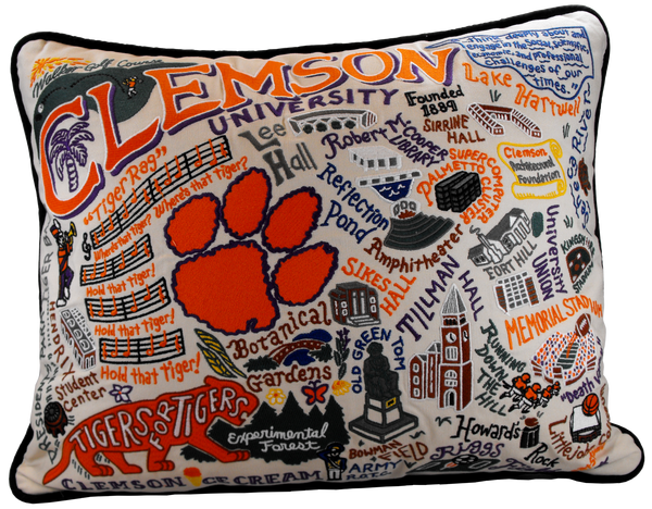 Landmarks of Clemson Embroidered Pillow