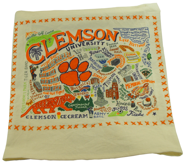 Landmarks of Clemson Tea Towel