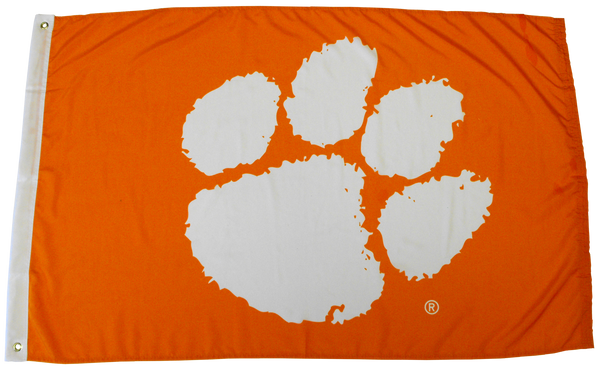 Clemson University Heavy Duty Tiger Paw Flag - Orange