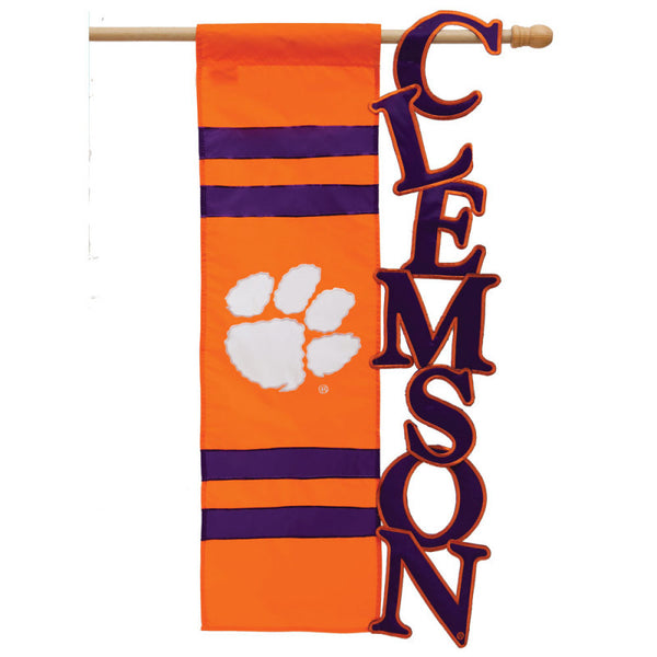 Clemson University Tigers Applique Letters Flag