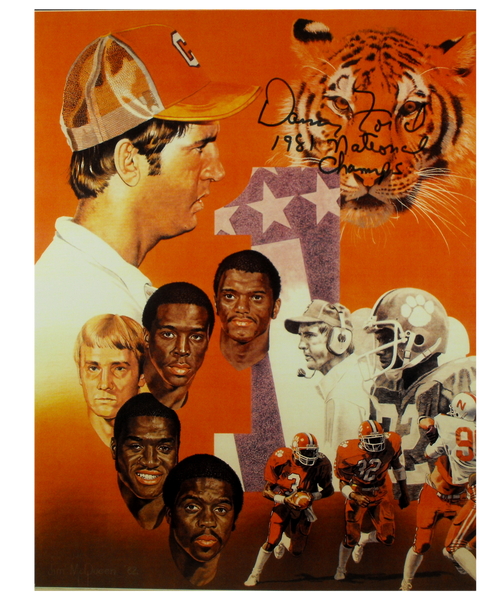 Coach Ford and Players Autographed Vintage Print