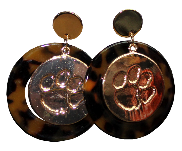 Tortoise Shell and Paw Medallion Earrings
