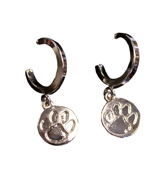 Clemson Silver Paw and Hoop Earrings