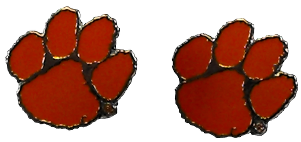 Clemson Orange Enamel Paw Earrings