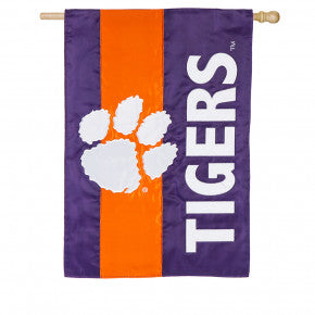 Clemson University Mixed-Material Embellished Appliqué House or Garden Flag